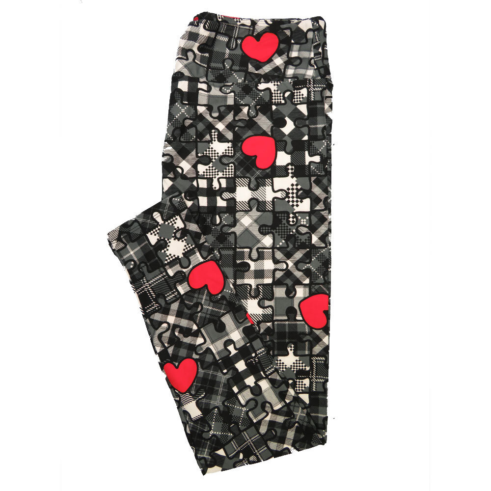LuLaRoe One Size OS Puzzle Piece Hearts Plaid Black White Gray Red Valentines Buttery Soft Leggings - OS fits Adults 2-10