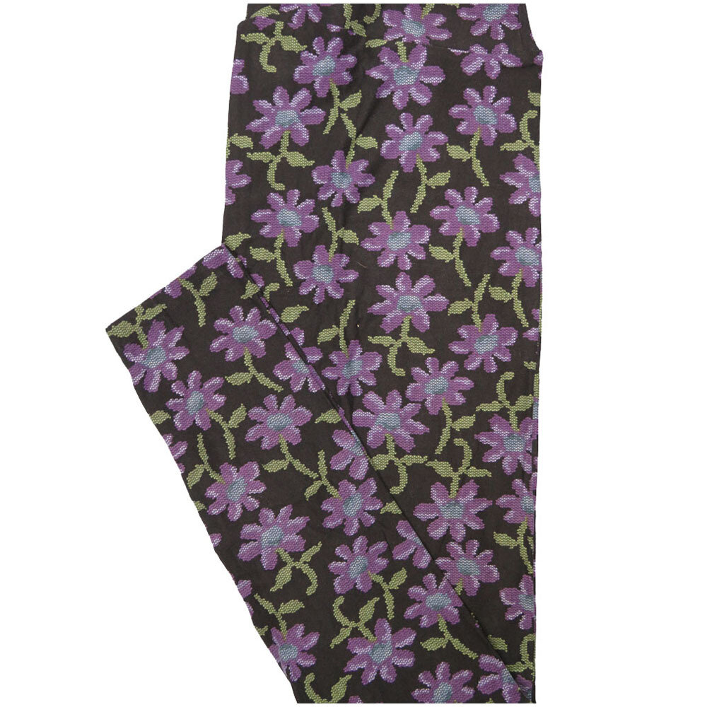 LuLaRoe Tall Curvy TC Black Pink Blue Daisy Floral Leggings (TC fits Adults 12-18) TC-7224-N7