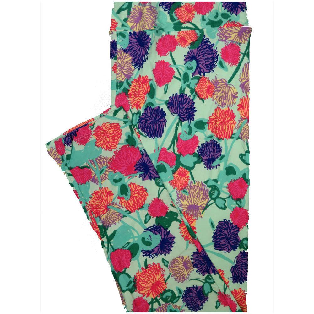 LuLaRoe Tall Curvy TC Light Teal Pink Purple Turquoise Floral Leggings (TC fits Adults 12-18) TC-7224-P7