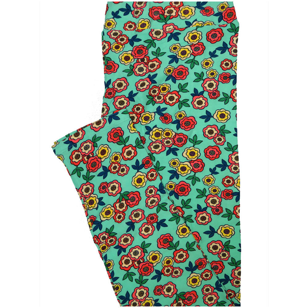 LuLaRoe Tall Curvy TC Teal Yellow White Pink Floral Leggings (TC fits Adults 12-18) TC-7224-R7