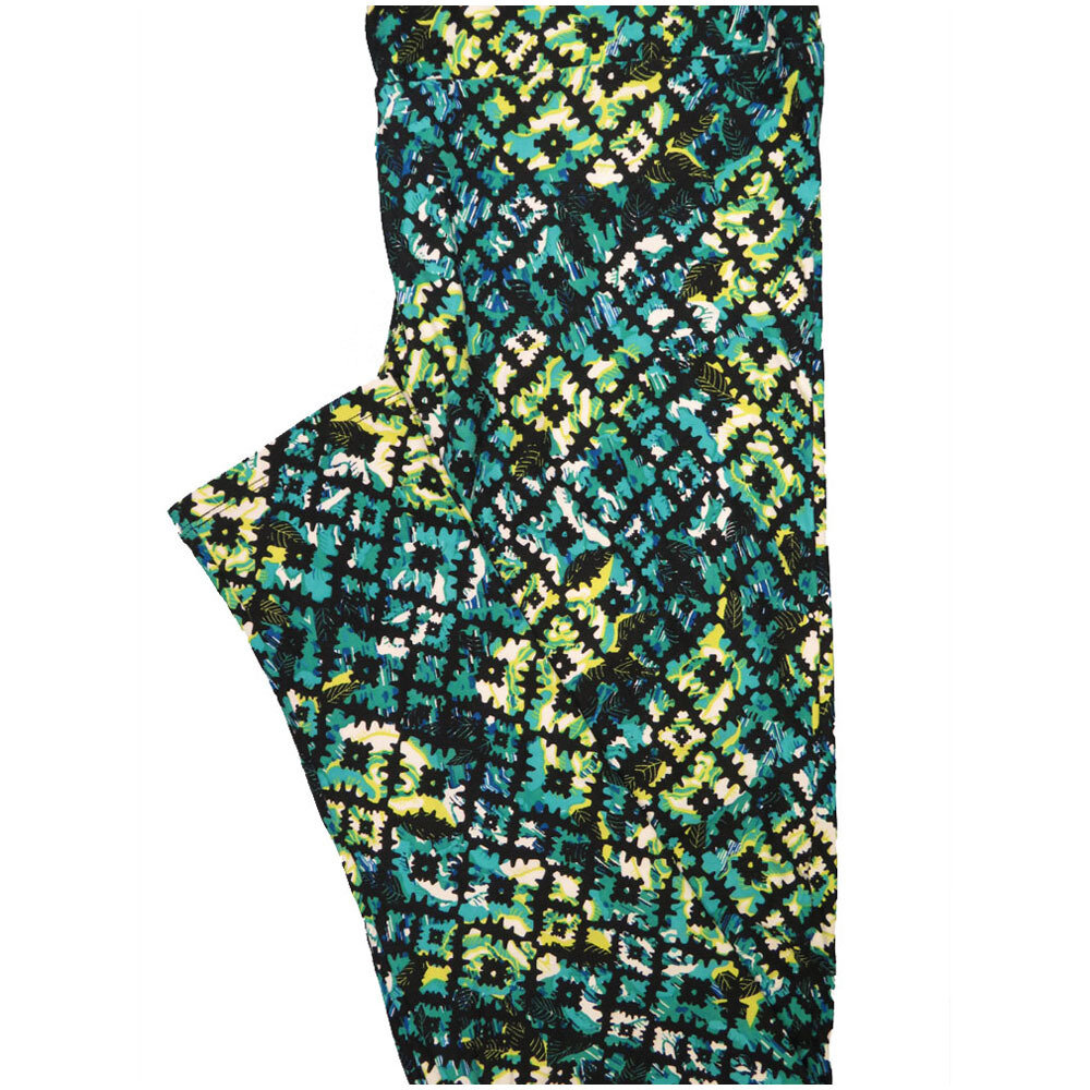 LuLaRoe Tall Curvy TC Black Turqioise Lime Zig Zag Geometric Leggings (TC fits Adults 12-18) TC-7225-C6