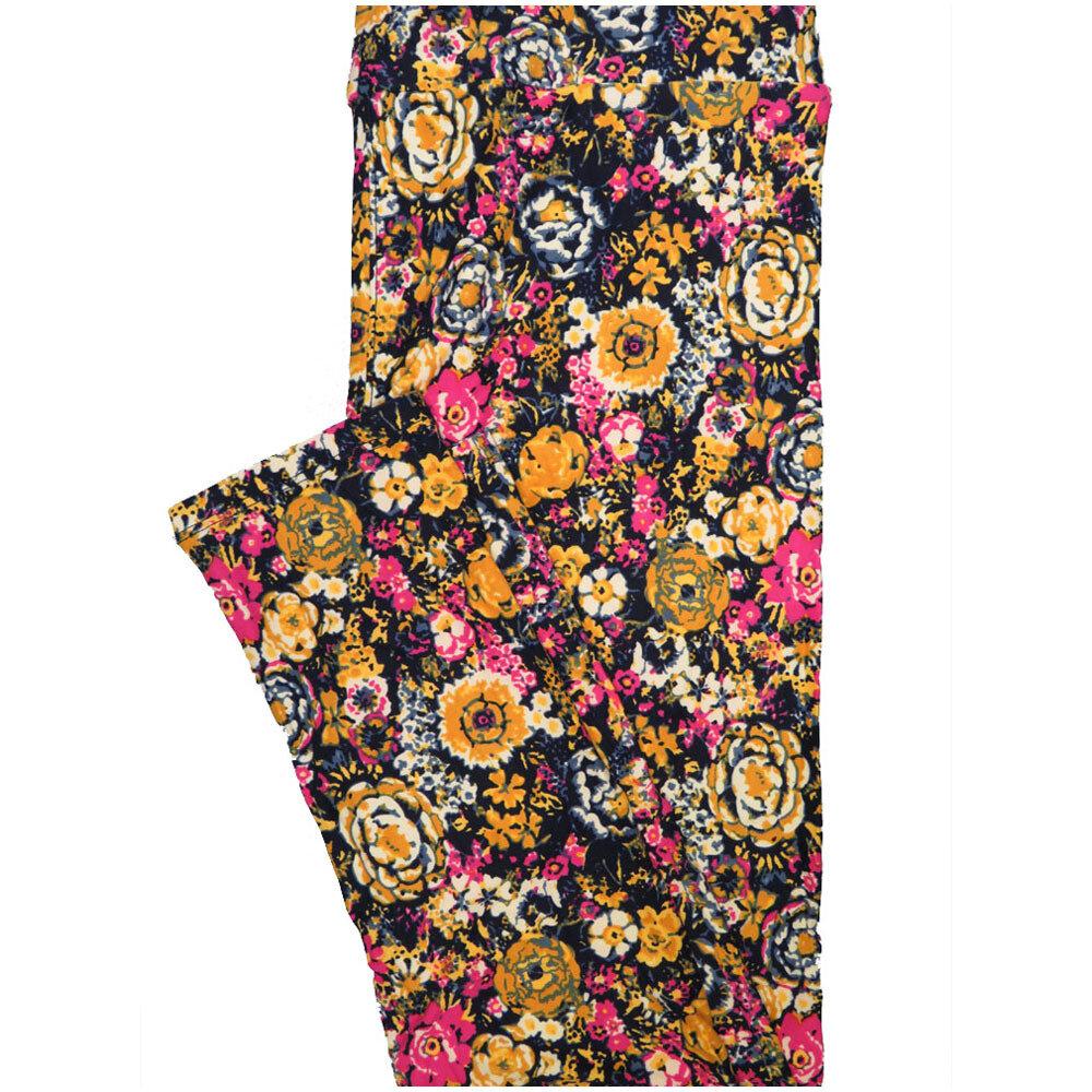LuLaRoe Tall Curvy TC Roses Flowers Navy Gold Pink White Leggings (TC fits Adults 12-18) TC-7225-D6