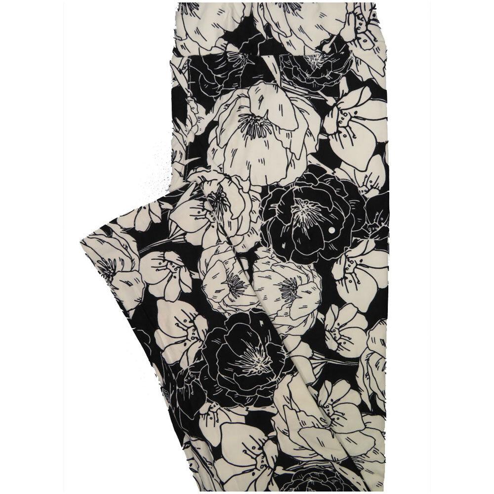 LuLaRoe Tall Curvy TC Black and White Poppy Floral Leggings (TC fits Adults 12-18) TC-7225-T5
