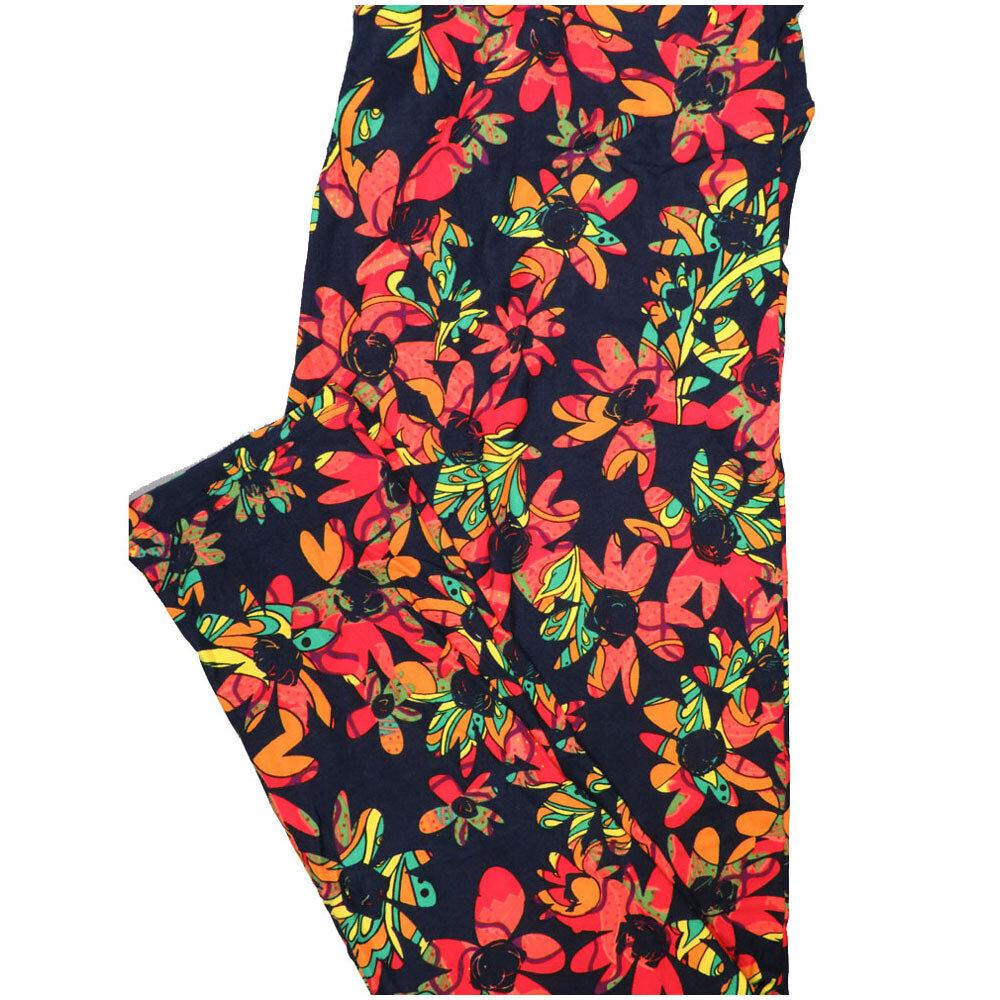 LuLaRoe Tall Curvy TC Black Yellow Pink Melon Floral Leggings (TC fits Adults 12-18) TC-7226-D8