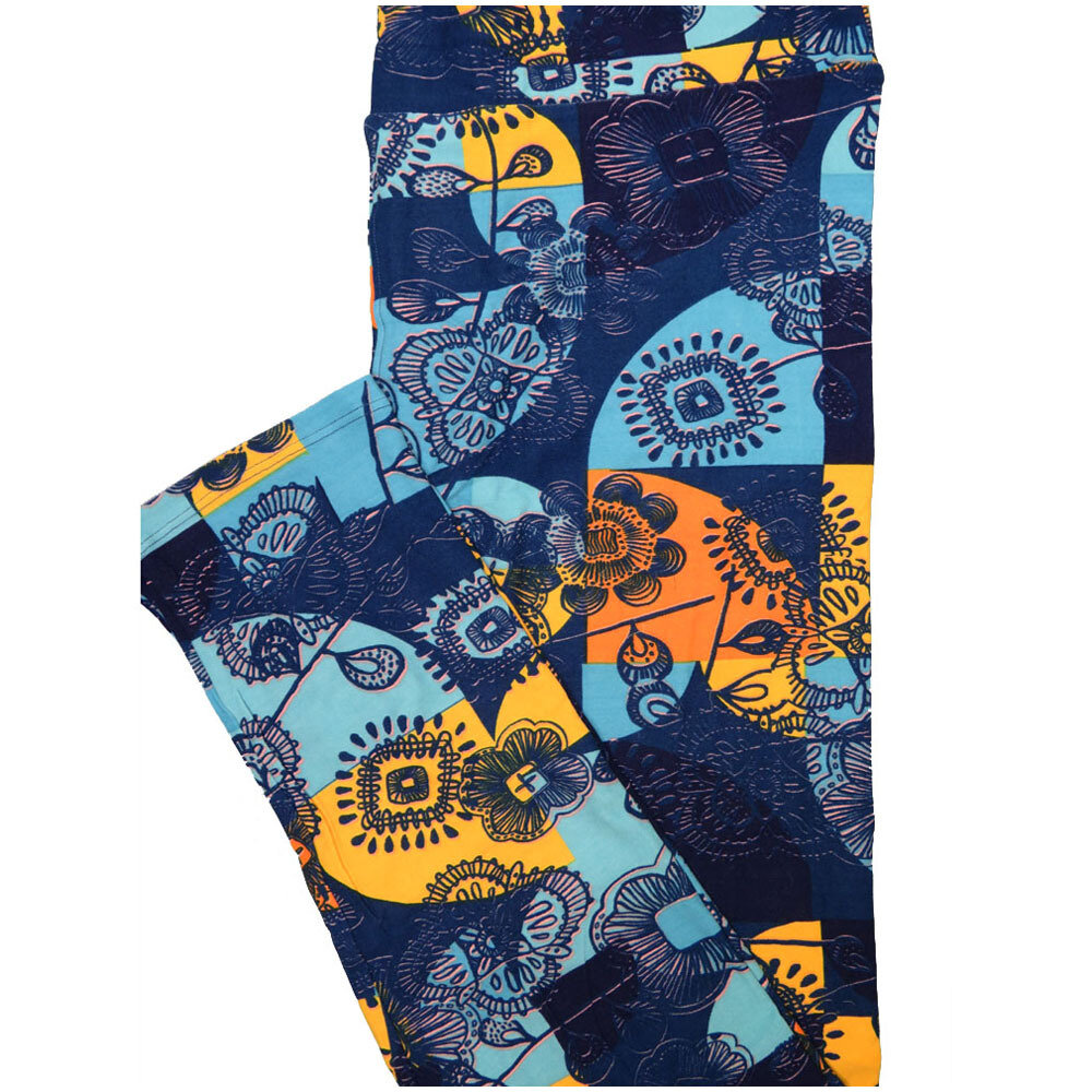 LuLaRoe Tall Curvy TC Black Blue Green Purple Geometric Floral Leggings (TC fits Adults 12-18) TC-7226-I8
