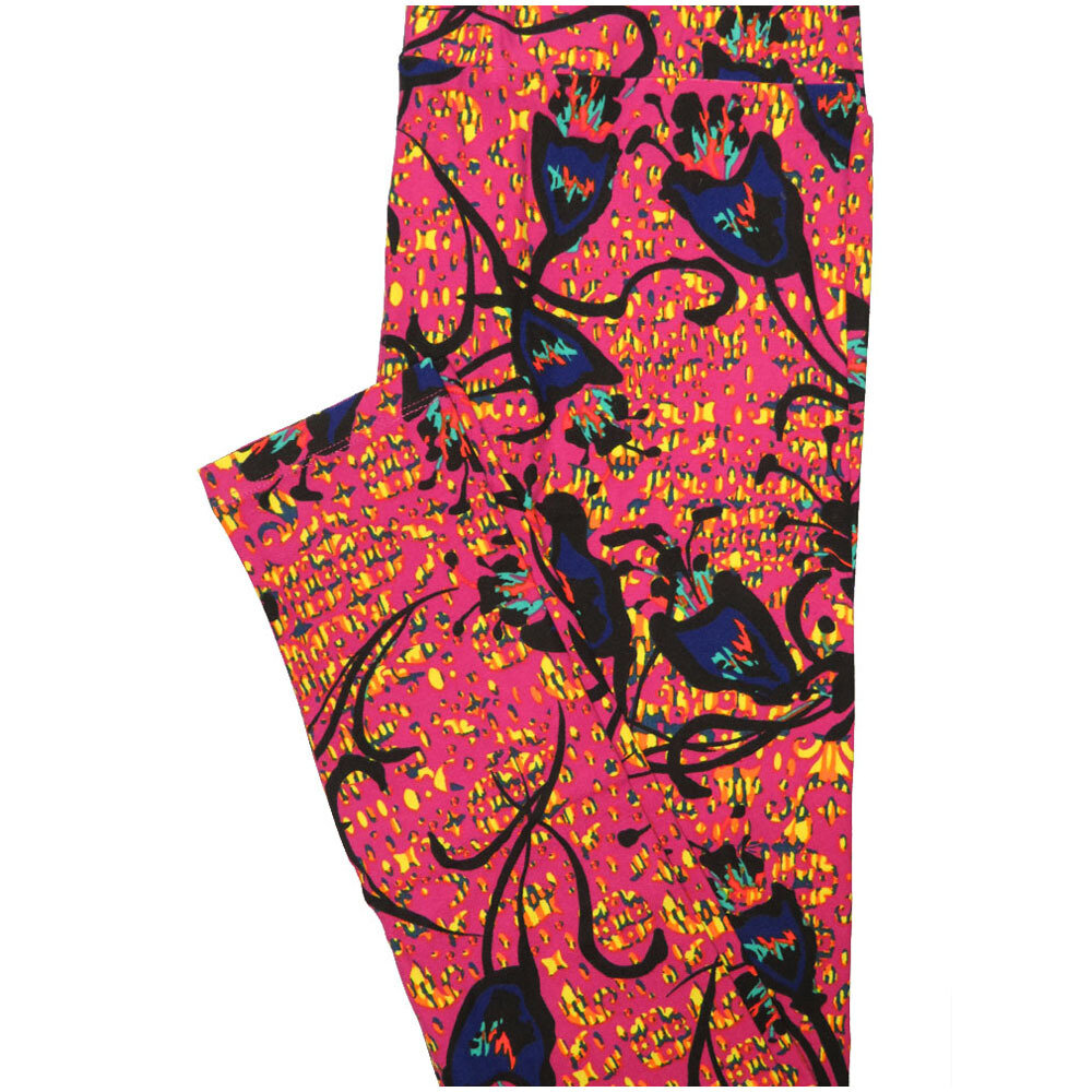 LuLaRoe Tall Curvy TC Abstract Floral Fucshia Black Mustard Purple Leggings (TC fits Adults 12-18) TC-7226-L8