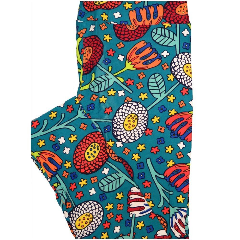 LuLaRoe Tall Curvy TC Turquoise White Coral Yellow Floral Womens Buttery Soft Leggings (TC fits Adults 12-18)