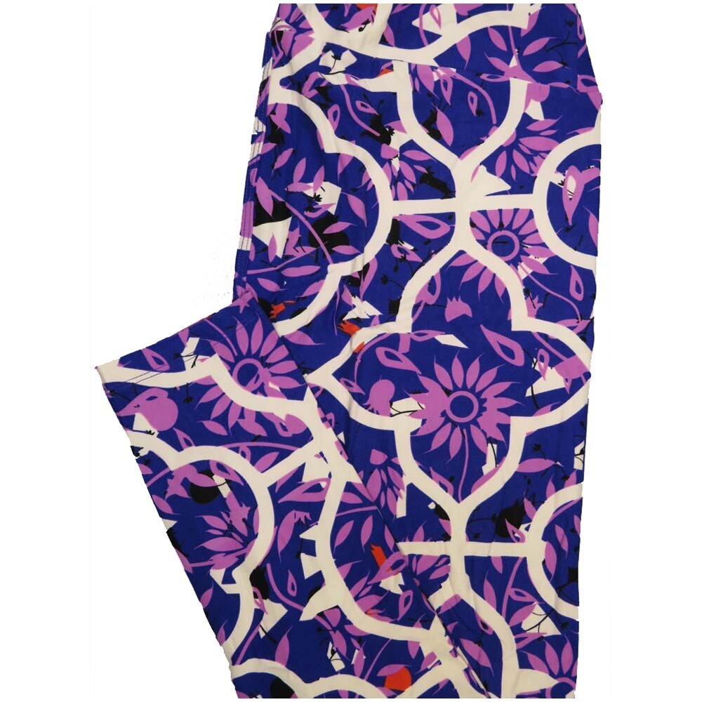 LuLaRoe Tall Curvy TC Blue Purple White Floral Geometric Womens Buttery Soft Leggings (TC fits Adults 12-18)