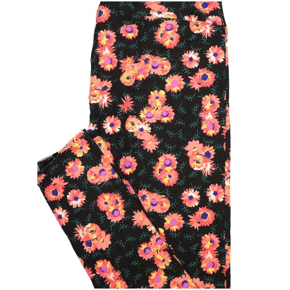 LuLaRoe Tall Curvy TC Black Pink Purple Blue Floral Womens Buttery Soft Leggings (TC fits Adults 12-18)