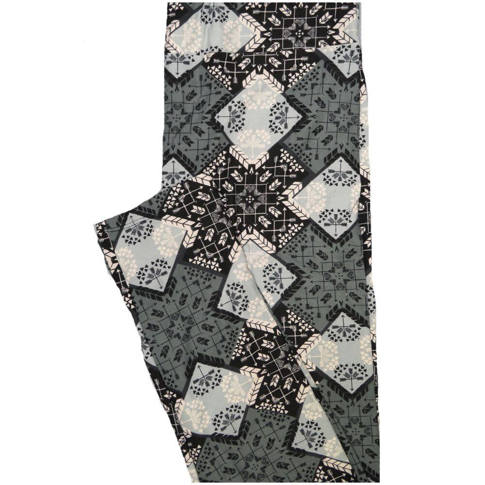 LuLaRoe Tall Curvy TC Arrows Black Gray White Geometric Leggings (TC fits Adults 12-18) TC-7224-C7