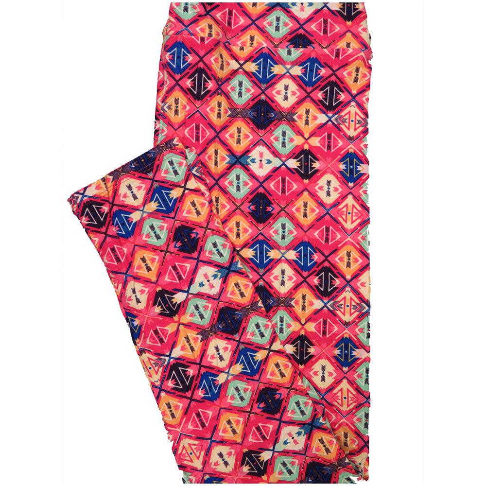 LuLaRoe Tall Curvy TC Checkerboard Pink Purple Blue Geometric Leggings (TC fits Adults 12-18) TC-7224-E7