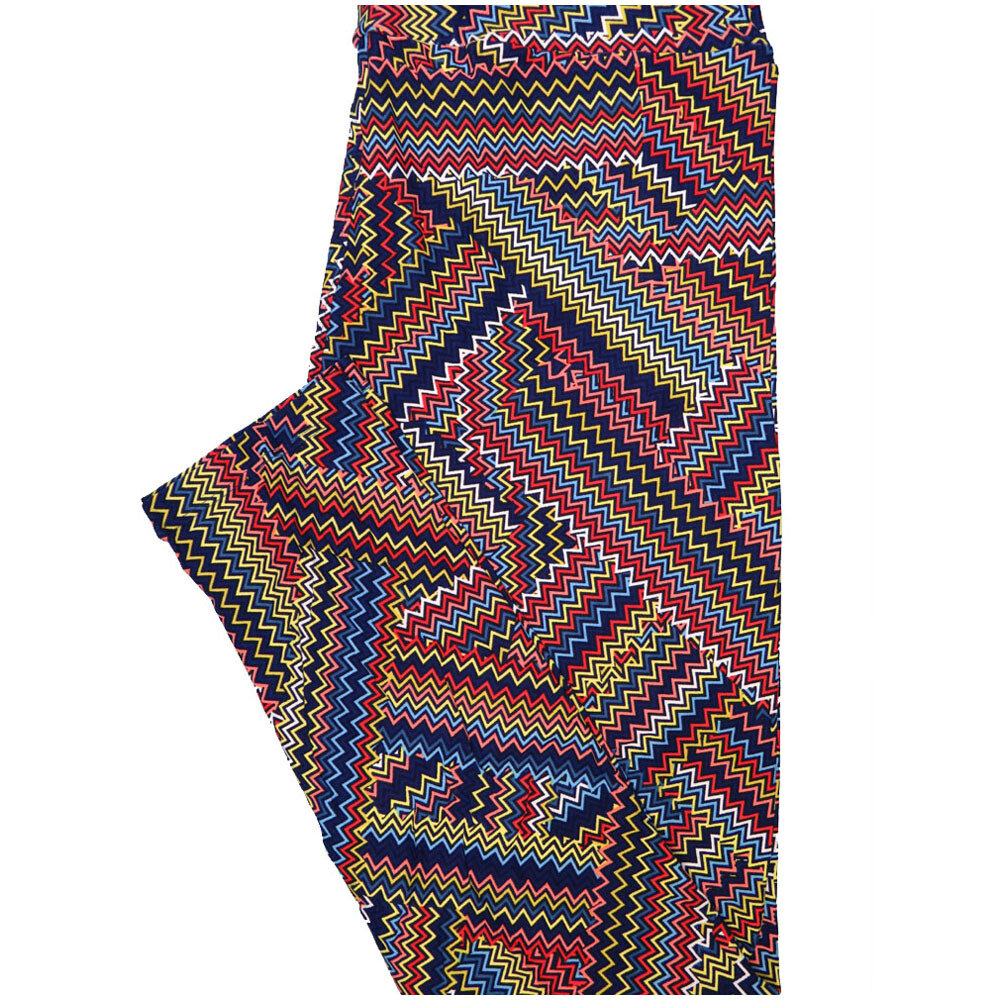 LuLaRoe Tall Curvy TC Black Orange Yellow Blue Zig Zag Trippy Stripe Leggings (TC fits Adults 12-18) TC-7224-L7