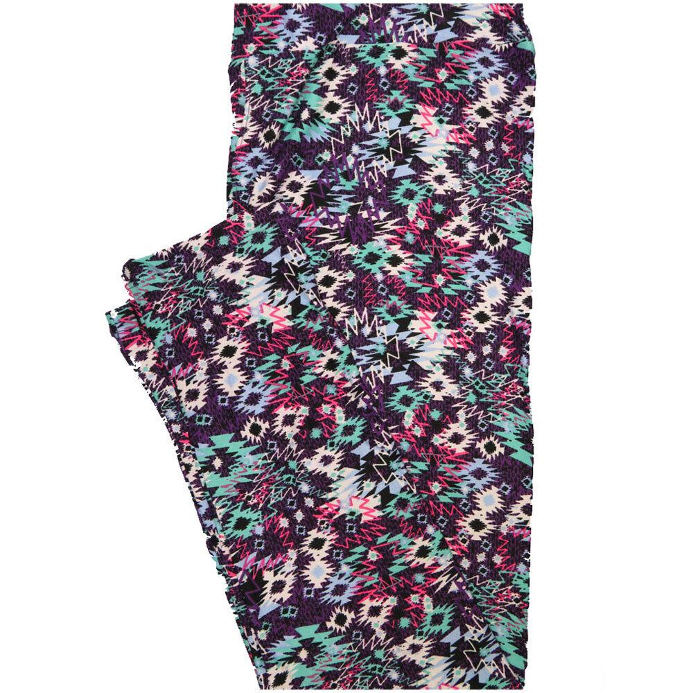 LuLaRoe Tall Curvy TC Aztek Southwestern Black Purple Teal Pink Geometric Leggings (TC fits Adults 12-18) TC-7225-A7