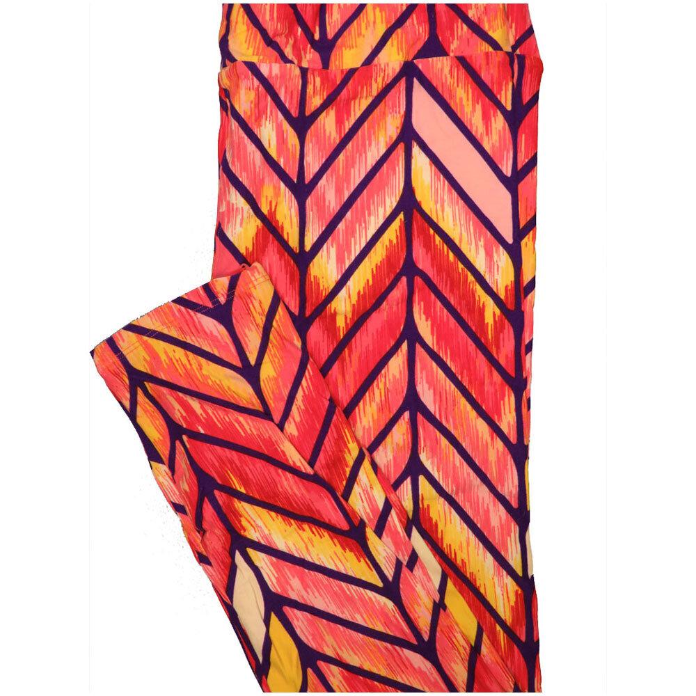 LuLaRoe Tall Curvy TC Zig Zag Herringbone Orange Purple Red Leggings (TC fits Adults 12-18) TC-7225-U5
