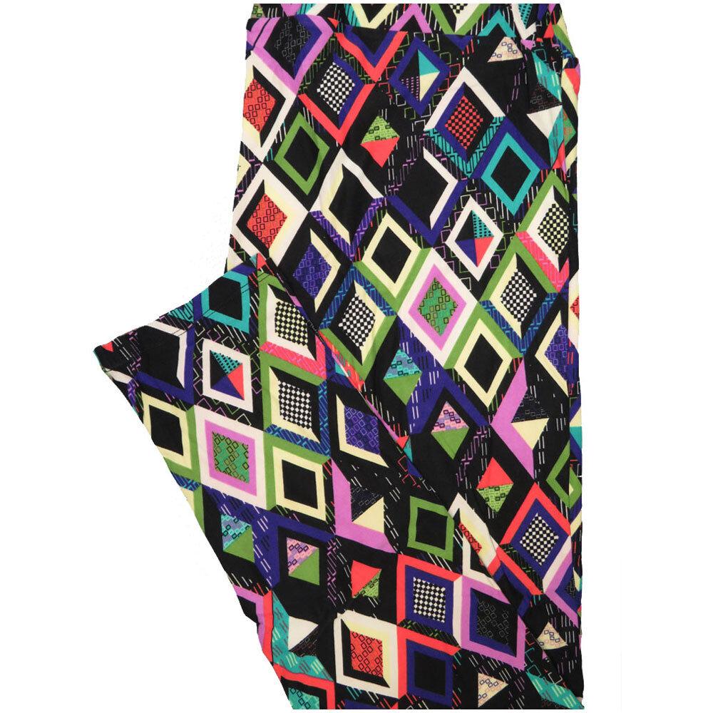 LuLaRoe Tall Curvy TC Diamond Checkboard Black White Pink Green Leggings (TC fits Adults 12-18) TC-7226-N8