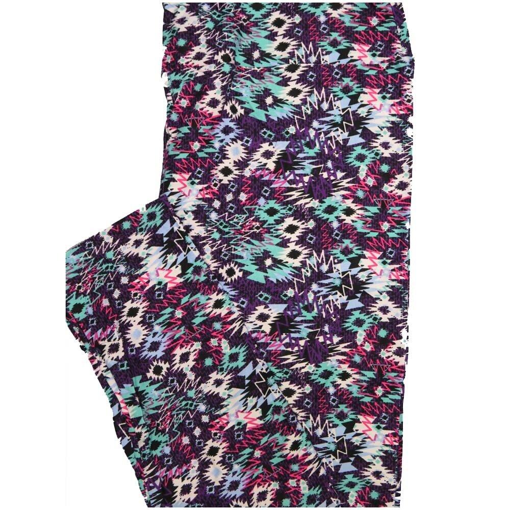 LuLaRoe Tall Curvy TC Aztek Southwestern Mint Green Purple Cream Black Geometric Womens Buttery Soft Leggings (TC fits Adults 12-18)
