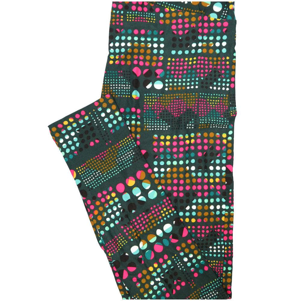 LuLaRoe Tall Curvy TC Polka Dot Dark Turquoise Fucshia Brown White Black Leggings (TC fits Adults 12-18) TC-7224-K7