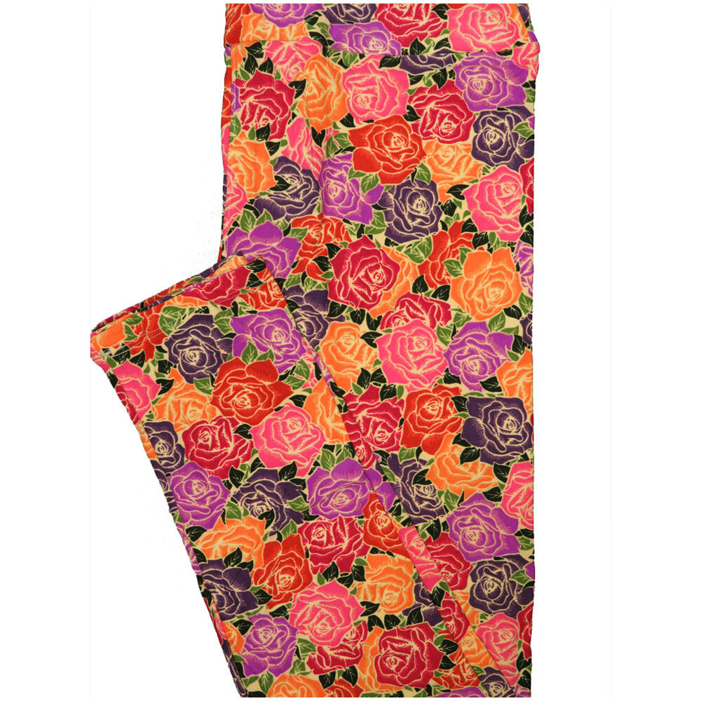 LuLaRoe Tall Curvy TC Roses Orange Black Purple Red Leggings (TC fits Adults 12-18) TC-7225-P5