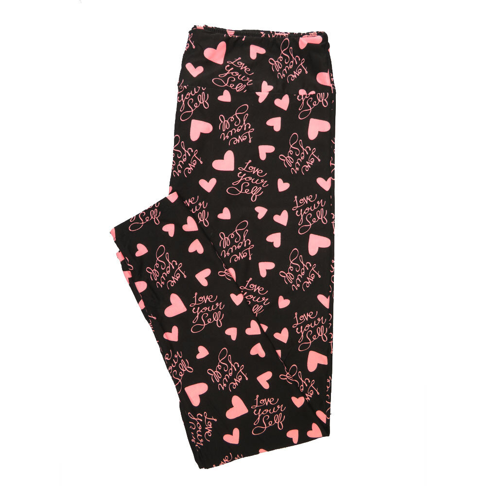 LuLaRoe Tall Curvy TC Love Your Self Black Pink Hearts Valentines a Womens Buttery Soft Leggings (TC fits Adults 12-18)
