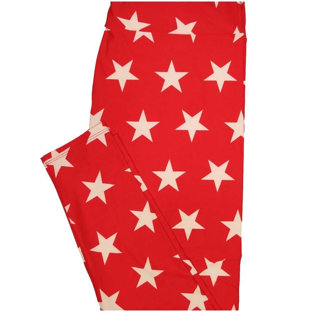LuLaRoe TCTWO TC2 Red White Stars USA America Buttery Soft Leggings - TC2 fits Adults 18+