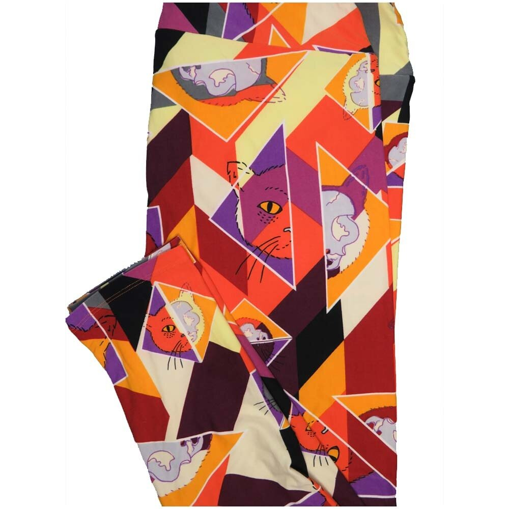 LuLaRoe TCTWO TC2 Cats Kittens Geometric Buttery Soft Leggings - TC2 fits Adults 18+