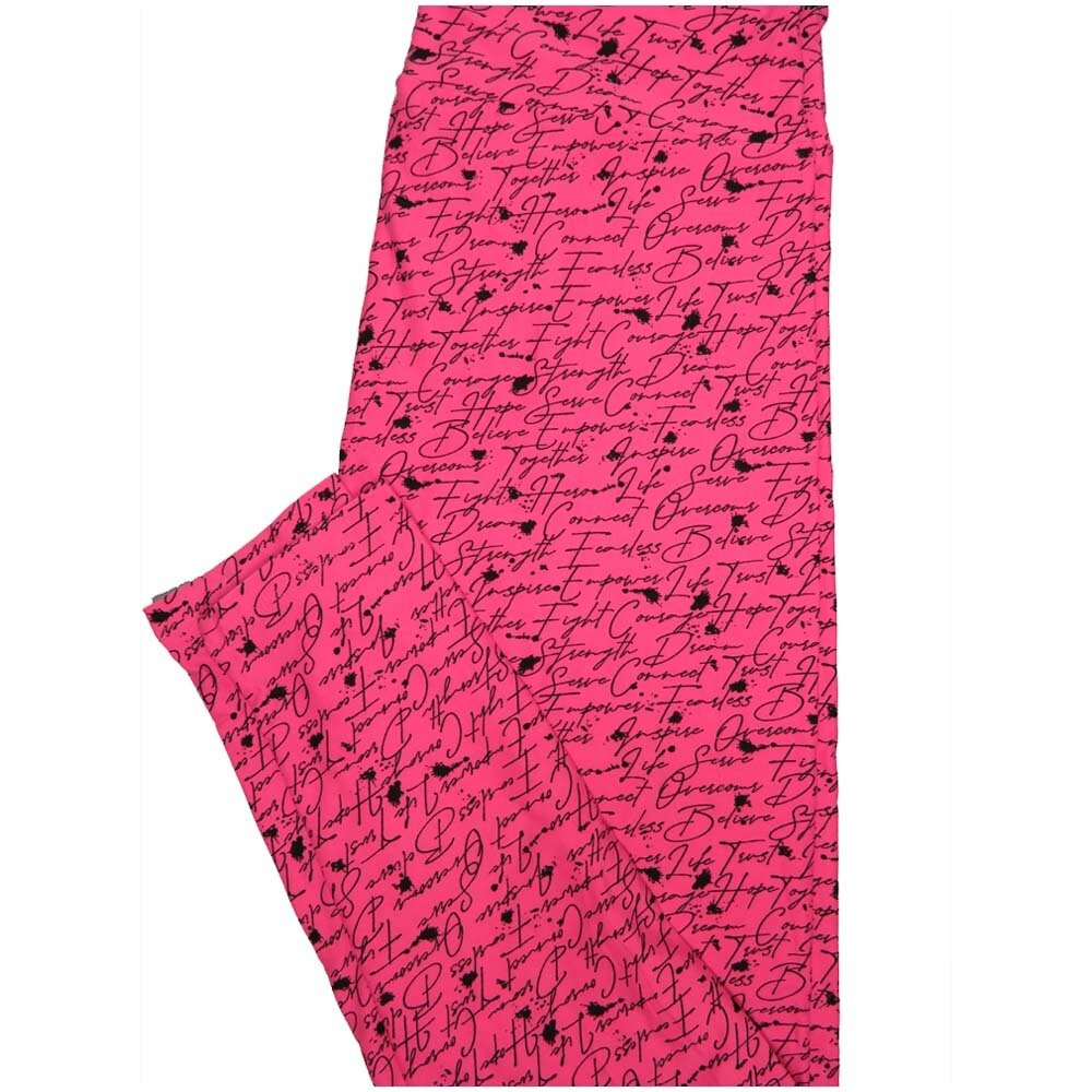 LuLaRoe TCTWO TC2 Fearless Overcome Believe Fight Cancer Awareness Buttery Soft Leggings - TC2 fits Adults 18+