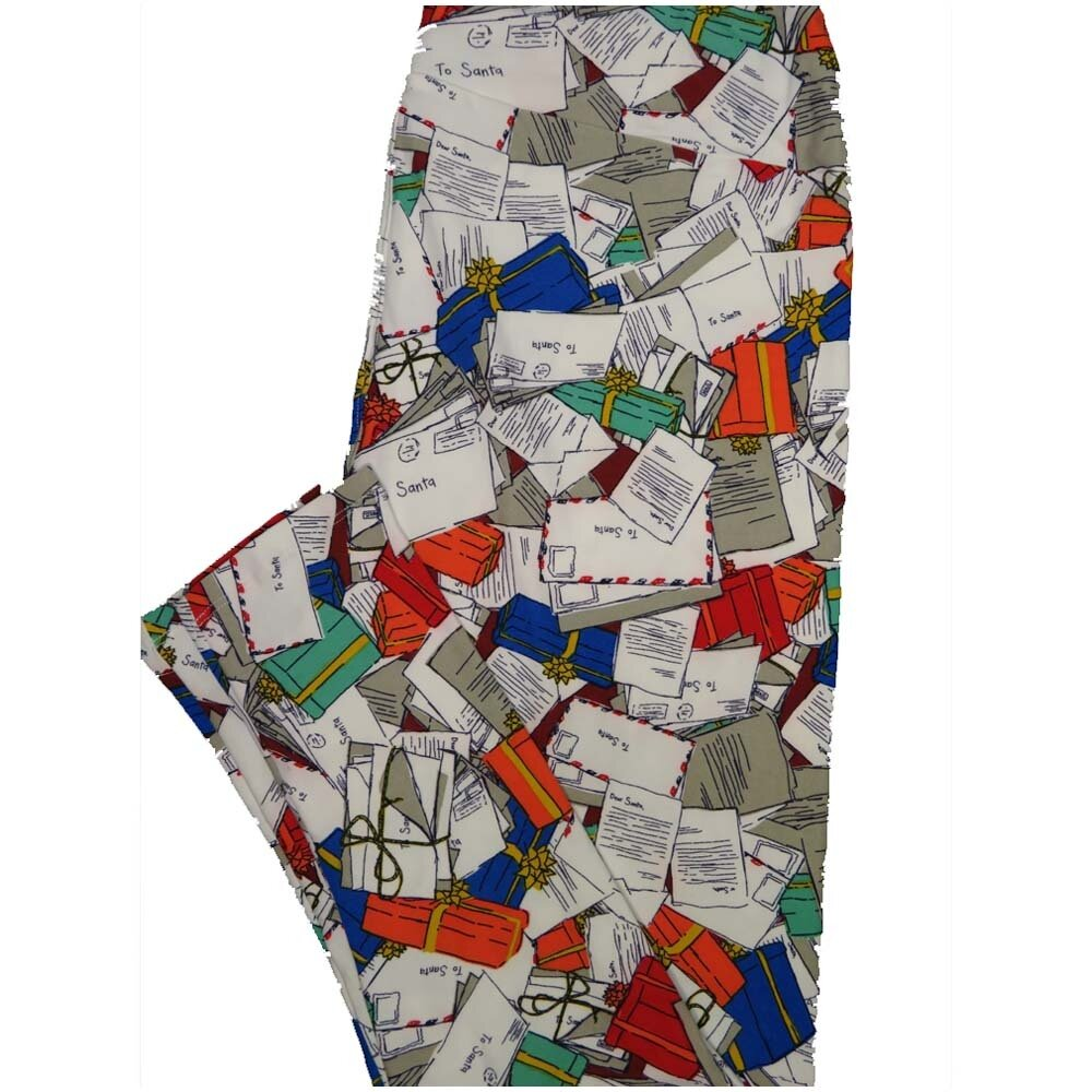 LuLaRoe TCTWO TC2 Letters To Santa Mail Christmas Buttery Soft Leggings - TC2 fits Adults 18+