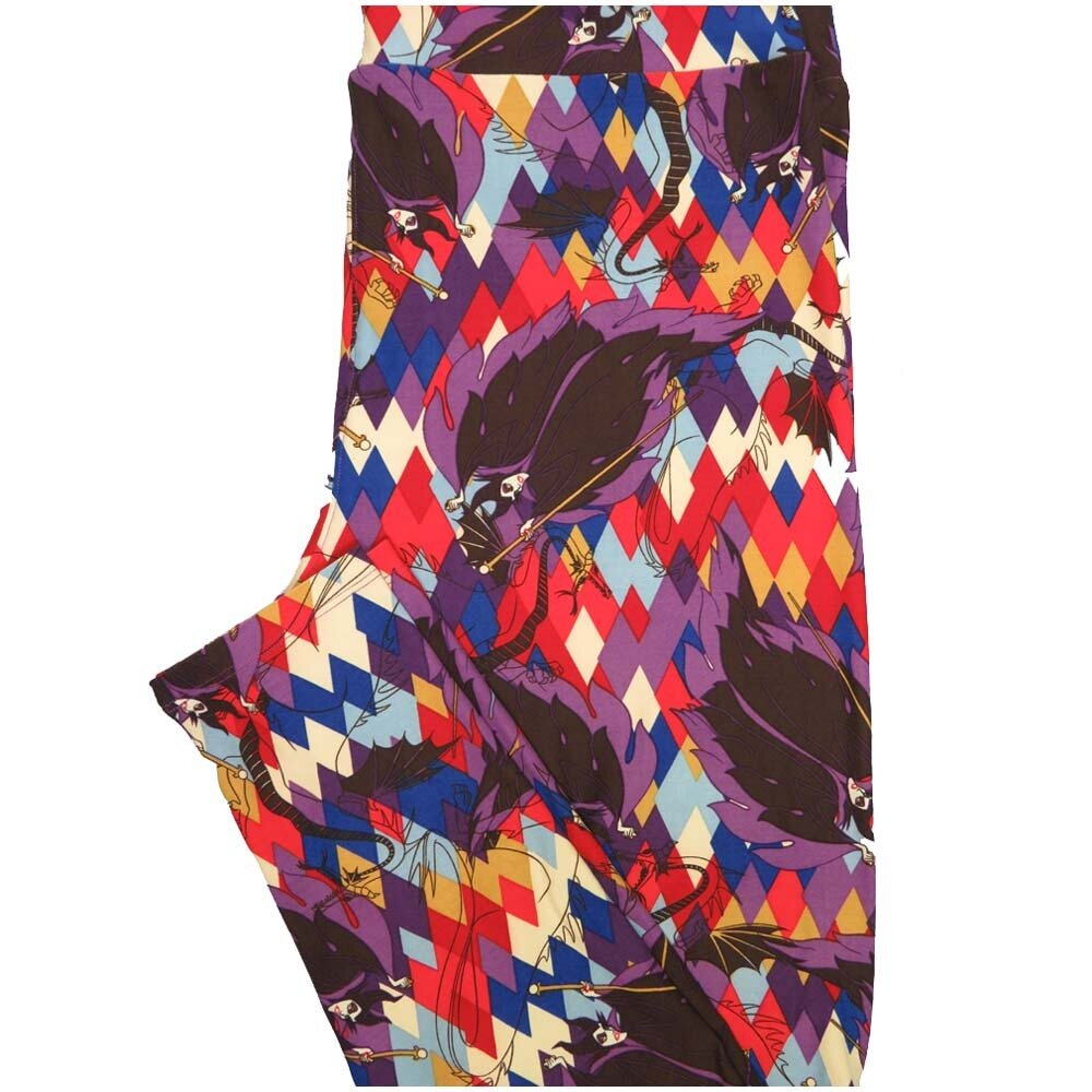 LuLaRoe TCTWO TC2 Disney Maleficent Diamond Geometric Buttery Soft Leggings - TC2 fits Adults 18+
