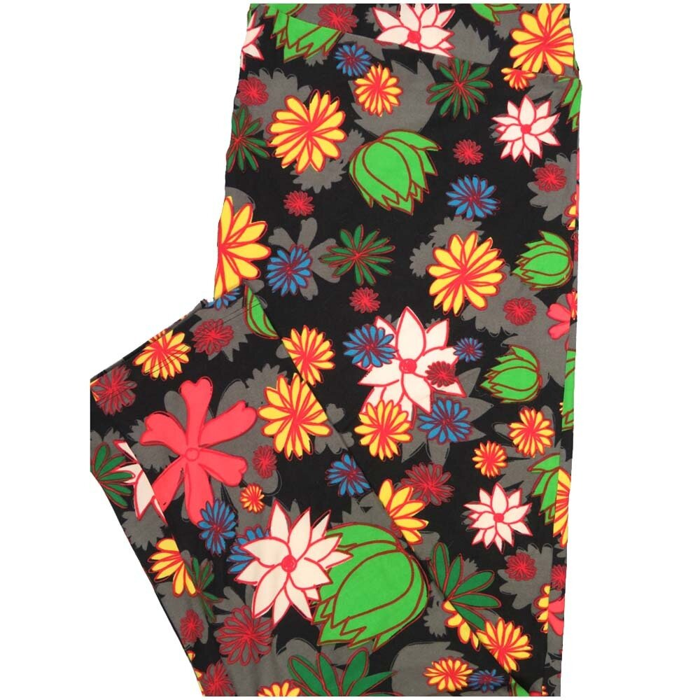 LuLaRoe TCTWO TC2 Black White Green Red Floral Buttery Soft Leggings - TC2 fits Adults 18+