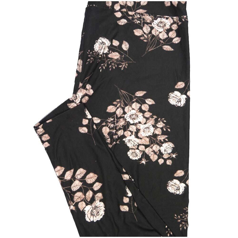 LuLaRoe TCTWO TC2 Black Roses Buttery Soft Leggings - TC2 fits Adults 18+