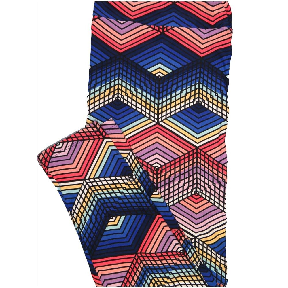LuLaRoe TCTWO TC2 3D Geometric Rainbow Stripe Buttery Soft Leggings - TC2 fits Adults 18+