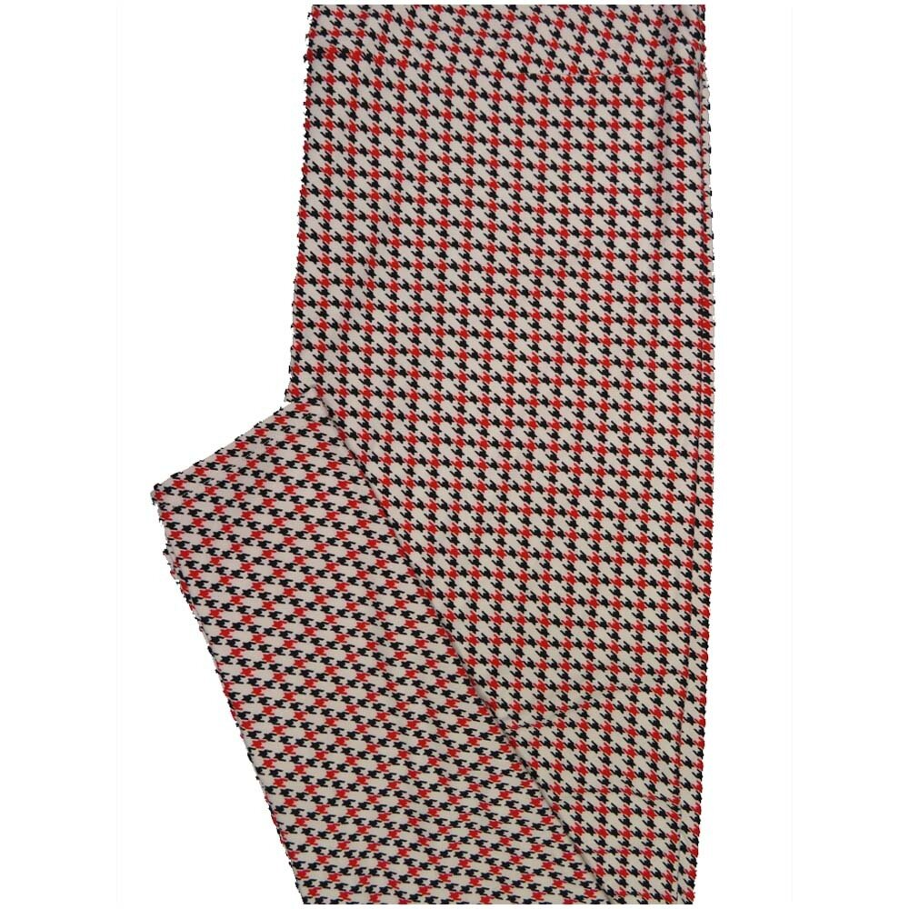LuLaRoe TCTWO TC2 Black White Red Houndstooth Geometric Buttery Soft Leggings - TC2 fits Adults 18+