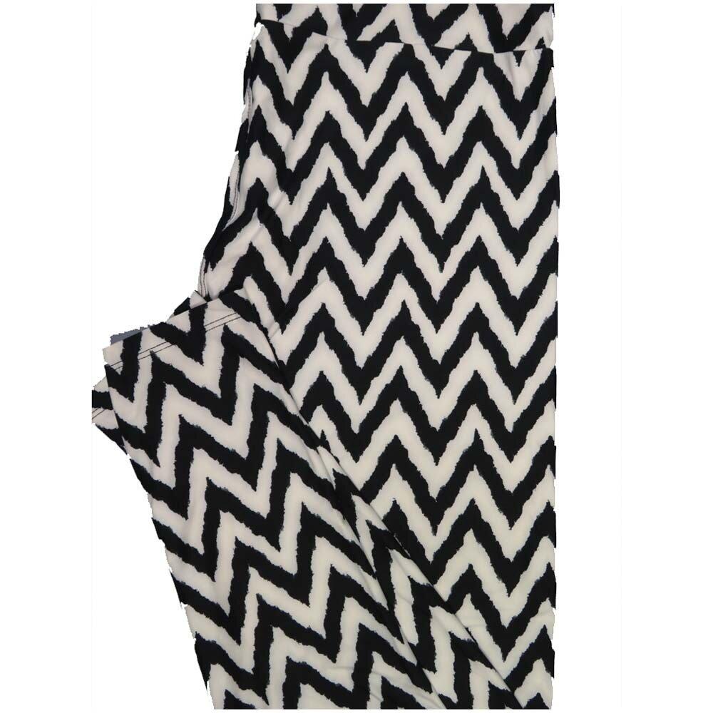 LuLaRoe TCTWO TC2 Black White Zig Zag Stripe Buttery Soft Leggings - TC2 fits Adults 18+