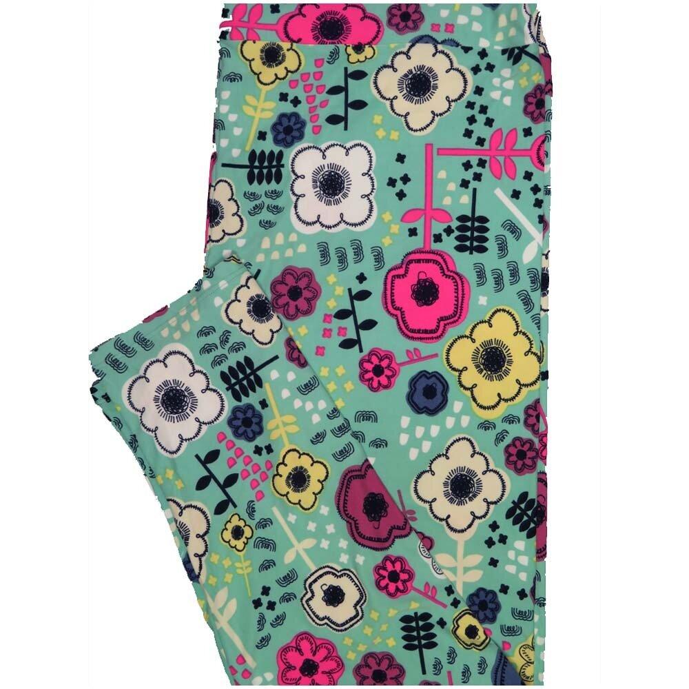 LuLaRoe TCTWO TC2 Geometric Floral Buttery Soft Leggings - TC2 fits Adults 18+