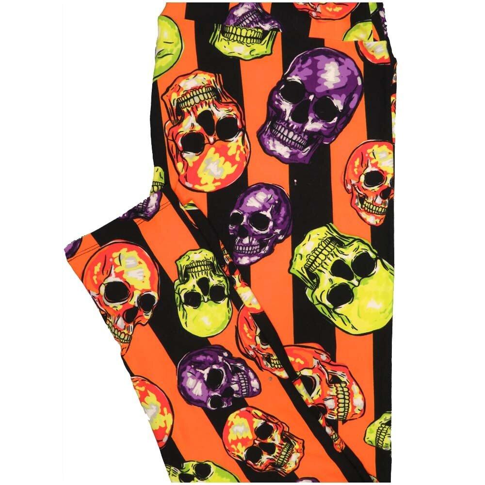 LuLaRoe TCTWO TC2 Orange Black Stripe Skulls Halloween Buttery Soft Leggings - TC2 fits Adults 18+