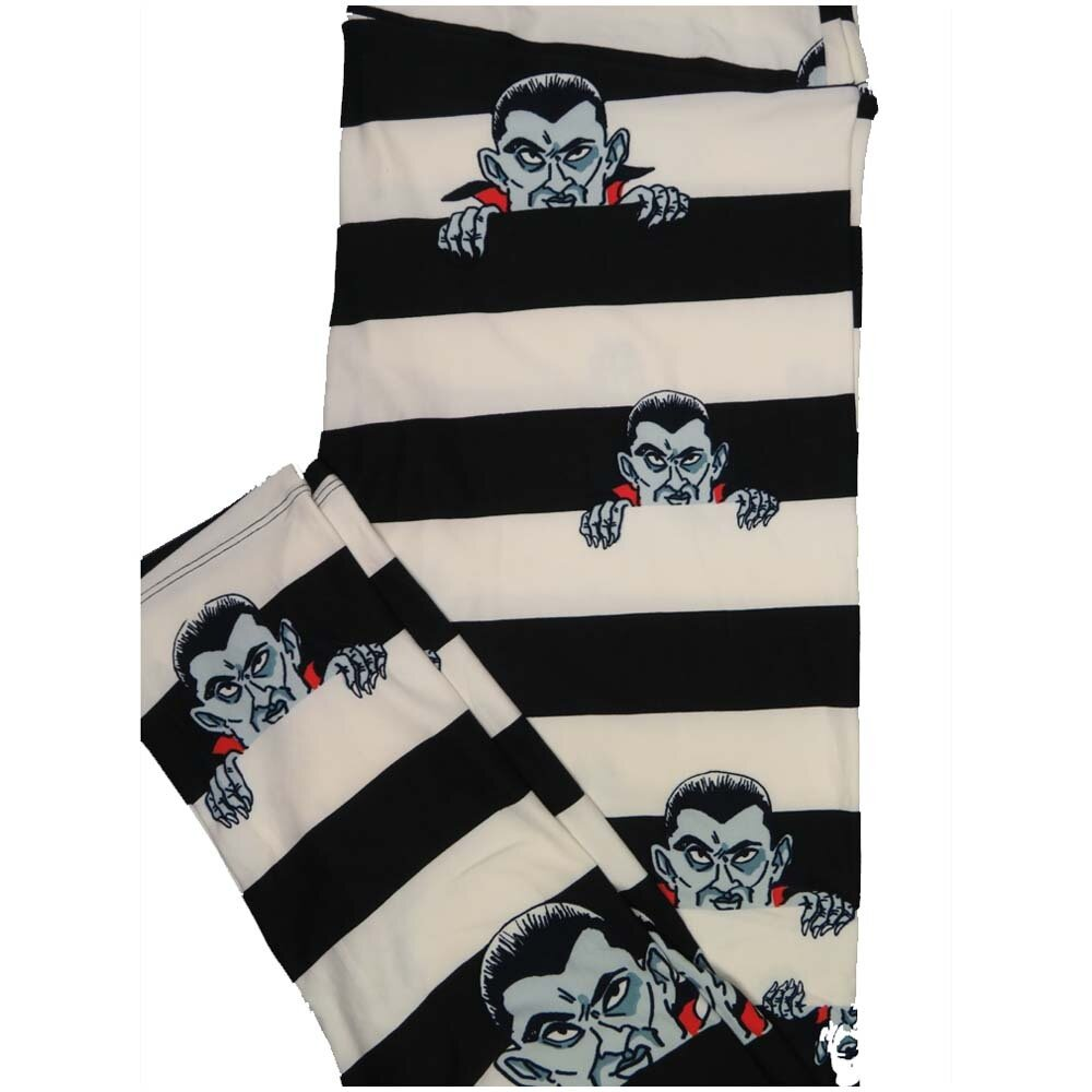 LuLaRoe TCTWO TC2 Dracula Nosfaratu Black Whtie Stripe Halloween Buttery Soft Leggings - TC2 fits Adults 18+