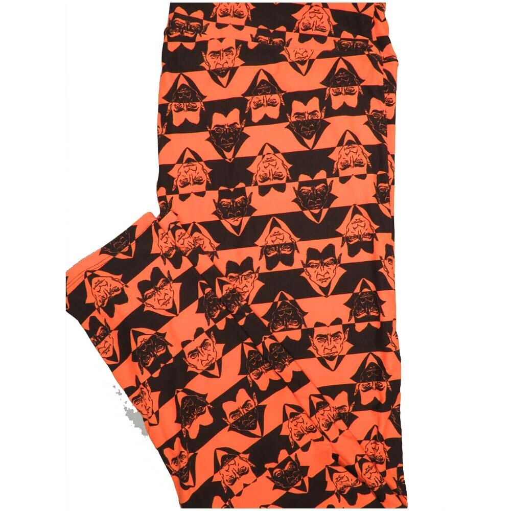 LuLaRoe TCTWO TC2 Black Orange Stripe Dracula Halloween Buttery Soft Leggings - TC2 fits Adults 18+