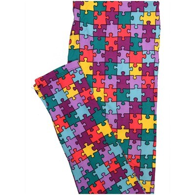 LuLaRoe One Size OS Autism Speaks Yellow Black Gray Lavender Buttery Soft Leggings - OS fits Adults 2-10