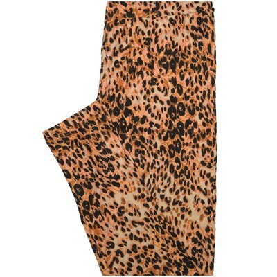 LuLaRoe One Size OS Biege Brown Black Cheetah Print Buttery Soft Leggings - OS fits Adults 2-10