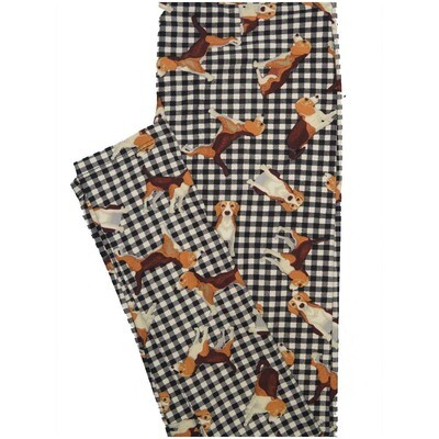 LuLaRoe One Size OS Beagles Puppy Dogs Gingham Checkerboard Black White Brown Buttery Soft Leggings - OS fits Adults 2-10