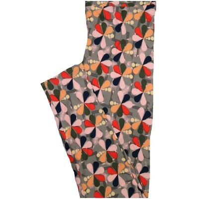 LuLaRoe One Size OS Peacock Gray Black Orange Floral Buttery Soft Leggings - OS fits Adults 2-10