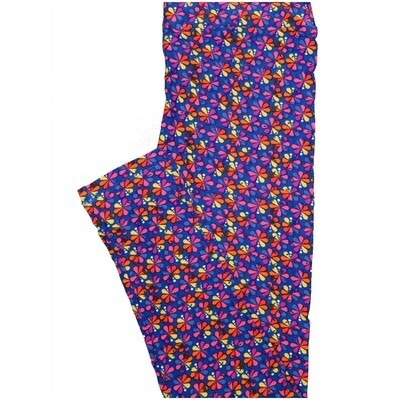 LuLaRoe One Size OS Peacock Blue Pink Purple Orange Floral Buttery Soft Leggings - OS fits Adults 2-10