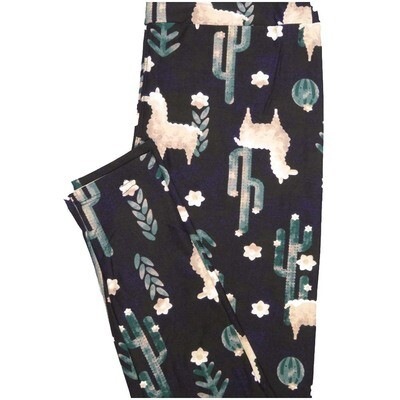 LuLaRoe One Size OS Llama Alpaca Cactus Black Light Green Cream Floral Buttery Soft Leggings - OS fits Adults 2-10
