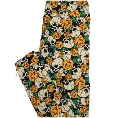 LuLaRoe One Size OS Skulls Roses Black White Orange Halloween Buttery Soft Leggings - OS fits Adults 2-10