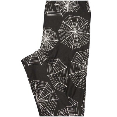 LuLaRoe One Size OS Spiderwebs Black White Halloween Buttery Soft Leggings - OS fits Adults 2-10