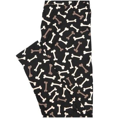LuLaRoe One Size OS Dog Bones Black White Pink Halloween Buttery Soft Leggings - OS fits Adults 2-10