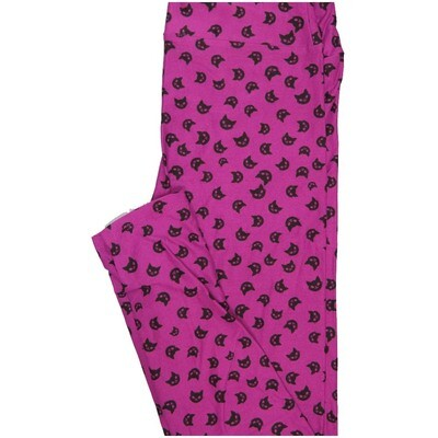 LuLaRoe One Size OS Black Cats Pink Black Halloween Buttery Soft Leggings - OS fits Adults 2-10