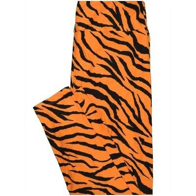LuLaRoe One Size OS Zebra Print Orange Black Halloween Buttery Soft Leggings - OS fits Adults 2-10