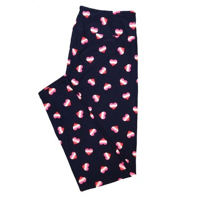LuLaRoe One Size OS Gradient Hearts Dark Blue Red White Pink Valentines Buttery Soft Leggings - OS fits Adults 2-10