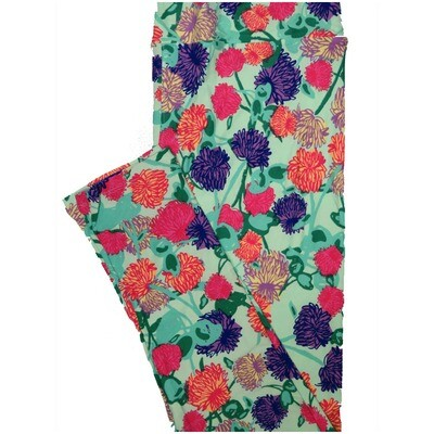 LuLaRoe Tall Curvy TC Light Teal Pink Purple Turquoise Floral Leggings (TC fits Adults 12-18) TC-7224-P7